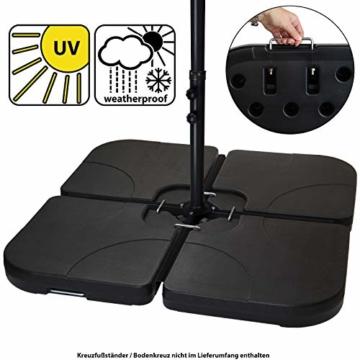 BB Sport Sonnenschirmständer 4-teilig Schirmgewicht für Ampelschirm Bodenkreuz schwarz 60 Liter / 80 kg - befüllbar mit Wasser oder Sand - 1