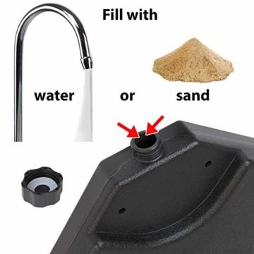 BB Sport Sonnenschirmständer 4-teilig Schirmgewicht für Ampelschirm Bodenkreuz schwarz 60 Liter / 80 kg - befüllbar mit Wasser oder Sand - 5