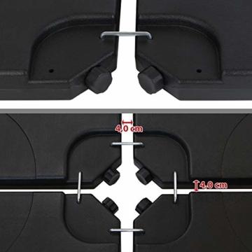 BB Sport Sonnenschirmständer 4-teilig Schirmgewicht für Ampelschirm Bodenkreuz schwarz 60 Liter / 80 kg - befüllbar mit Wasser oder Sand - 6
