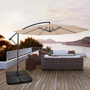 BB Sport Sonnenschirmständer 4-teilig Schirmgewicht für Ampelschirm Bodenkreuz schwarz 60 Liter / 80 kg - befüllbar mit Wasser oder Sand - 7