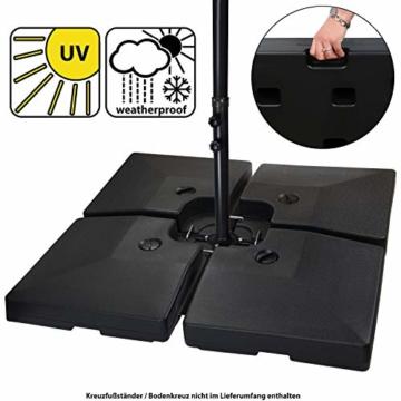 BB Sport Sonnenschirmständer 4-teilig Schirmgewicht für Ampelschirm Bodenkreuz schwarz 90 Liter / 120 kg - befüllbar mit Wasser oder Sand - 1
