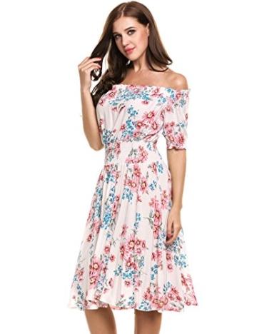 Beyove Damen Schulterfrei Kleider Elastische Taille Kleid Strandkleid Midikleid Partykleider mit Blumen - 2