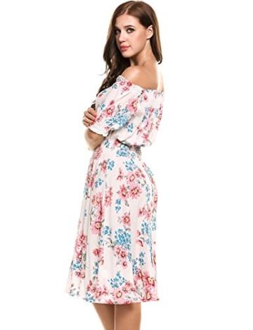 Beyove Damen Schulterfrei Kleider Elastische Taille Kleid Strandkleid Midikleid Partykleider mit Blumen - 3