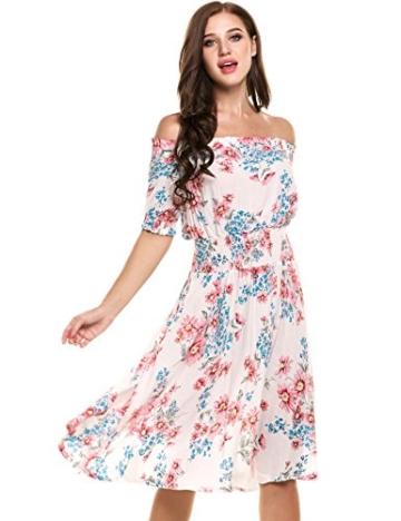 Beyove Damen Schulterfrei Kleider Elastische Taille Kleid Strandkleid Midikleid Partykleider mit Blumen - 1