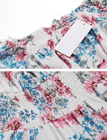 Beyove Damen Schulterfrei Kleider Elastische Taille Kleid Strandkleid Midikleid Partykleider mit Blumen - 5