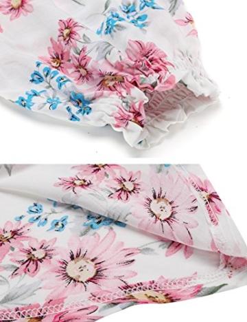 Beyove Damen Schulterfrei Kleider Elastische Taille Kleid Strandkleid Midikleid Partykleider mit Blumen - 6