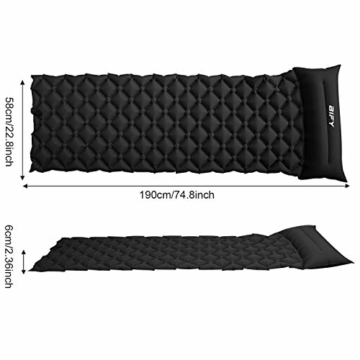 BIFY Isomatte Camping Schlafmatte Ultraleicht Kleines Packmaß. Aufblasbare Luftmatratze für Outdoor Camping, Reise,Trekking und Backpacking (Schwarz mit Kissen) - 2