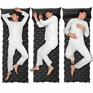 BIFY Isomatte Camping Schlafmatte Ultraleicht Kleines Packmaß. Aufblasbare Luftmatratze für Outdoor Camping, Reise,Trekking und Backpacking (Schwarz mit Kissen) - 4