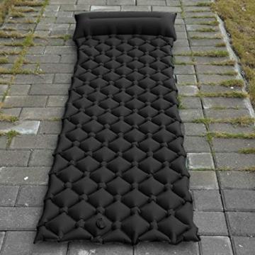 BIFY Isomatte Camping Schlafmatte Ultraleicht Kleines Packmaß. Aufblasbare Luftmatratze für Outdoor Camping, Reise,Trekking und Backpacking (Schwarz mit Kissen) - 7