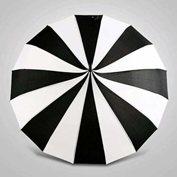 BJYG Golfschirm Schwarz-weiß gestreifter Regenschirm Pagodenschirm 16 schwarzer Klavierlack verstärkter Schirmständer Sonnenschirmschirm - 2