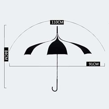 BJYG Golfschirm Schwarz-weiß gestreifter Regenschirm Pagodenschirm 16 schwarzer Klavierlack verstärkter Schirmständer Sonnenschirmschirm - 3