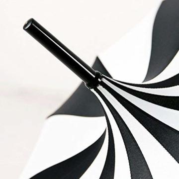 BJYG Golfschirm Schwarz-weiß gestreifter Regenschirm Pagodenschirm 16 schwarzer Klavierlack verstärkter Schirmständer Sonnenschirmschirm - 4