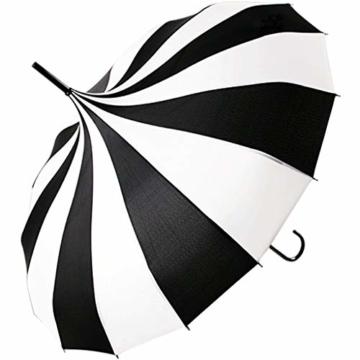 BJYG Golfschirm Schwarz-weiß gestreifter Regenschirm Pagodenschirm 16 schwarzer Klavierlack verstärkter Schirmständer Sonnenschirmschirm - 1