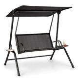 blumfeldt Bel Air Mono Swing Hollywoodschaukel - Stahlrahmen, atmungsaktiv, leichte Reinigung, Mono Relax-Bauweise, Sonnendach, Sitzfläche: 120 x 50 cm (BxT), Max. Belastung: 160 kg, schwarz - 1