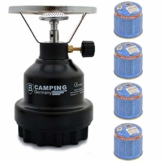 Campingkocher E190 Gaskocher Metall mit 4X Gas (Schwarz) - 1