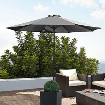 [casa.pro]® Sonnenschirm Schirm Marktschirm Kurbelschirm Garten Grau / 230x300cm / 5,7kg / Stahl/Polyester 160g/m² - 2