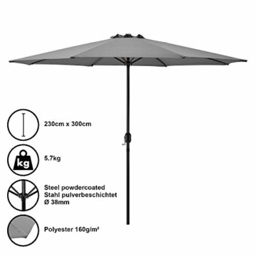 [casa.pro]® Sonnenschirm Schirm Marktschirm Kurbelschirm Garten Grau / 230x300cm / 5,7kg / Stahl/Polyester 160g/m² - 1