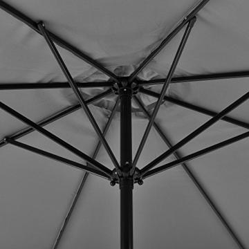 [casa.pro]® Sonnenschirm Schirm Marktschirm Kurbelschirm Garten Grau / 230x300cm / 5,7kg / Stahl/Polyester 160g/m² - 5