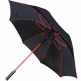 COLLAR AND CUFFS LONDON - 154 cm Bogen - Windproof - Verstärkte Fiberglasrippen in Rot - SEHR STARK - StormFighter Jumbo - Automatik - Fiberglas Regenschirm Stockschirm - Schwarz - 1
