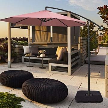 COSTWAY 4-teiliger Sonneschirmständer, 72kg/52L Marktschirmständer Sonnenschirmfuß, Balkonschirmständer befüllbar für Außenbereich, Terrasse, Hof - 8