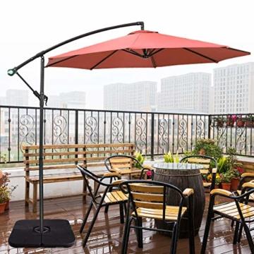 COSTWAY 4-teiliger Sonneschirmständer, 72kg/52L Marktschirmständer Sonnenschirmfuß, Balkonschirmständer befüllbar für Außenbereich, Terrasse, Hof - 9