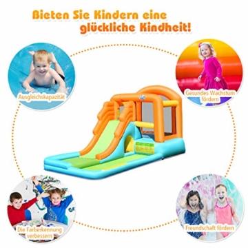 COSTWAY Hüpfburg aufblasbar, Wasserrutsche Spielpool, Springburg mit Rutsche, Wasserpark Planschbecken (490x225x240cm) - 3