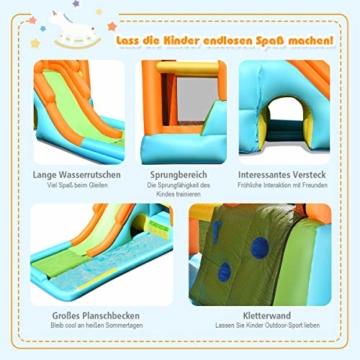 COSTWAY Hüpfburg aufblasbar, Wasserrutsche Spielpool, Springburg mit Rutsche, Wasserpark Planschbecken (490x225x240cm) - 4