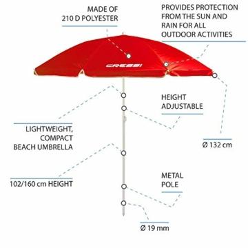 Cressi Umbrella Beach Sonnenschirm, Rosa, 160 cm - 2
