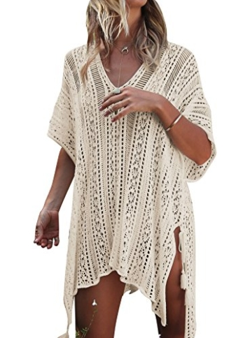 Damen Gestrickte Strandkleid Sommer Strandponcho Strandurlaub Badeanzug Bikini Cover-Ups HAIGOU (One Size, Beige) - 1