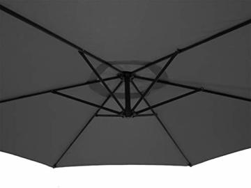 DEGAMO Ampelschirm 300cm Mittelgrau mit Ständer, Gestell Aluminium, UV Schutzfaktor 50+ - 2