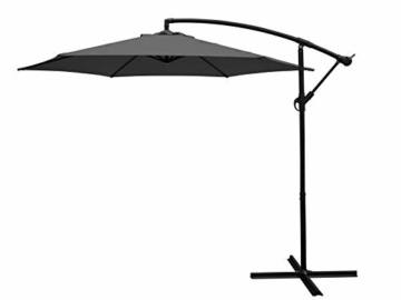 DEGAMO Ampelschirm 300cm Mittelgrau mit Ständer, Gestell Aluminium, UV Schutzfaktor 50+ - 1