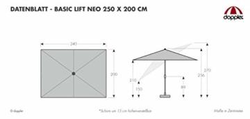 Derby Basic Lift NEO 250x200 – Rechteckiger Sonnenschirm – Höhenverstellbar – ca. 250x200 cm – Hellgrau - 4