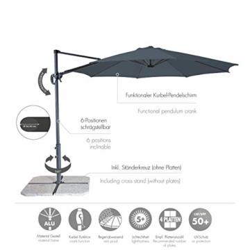 Derby Ravenna Smart 300 – Hochwertiger Ampelschirm ideal für Garten und Terrasse – Neigbar – ca. 300cm – Anthrazit - 2