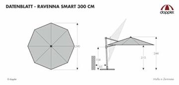Derby Ravenna Smart 300 – Hochwertiger Ampelschirm ideal für Garten und Terrasse – Neigbar – ca. 300cm – Anthrazit - 3