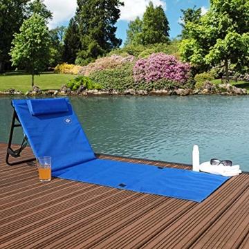 Deuba Strandmatte Gepolstert Kopfkissen Faltbar Verstellbare Rückenlehne Staufach Badematte Isomatte Strandtuch Blau - 2