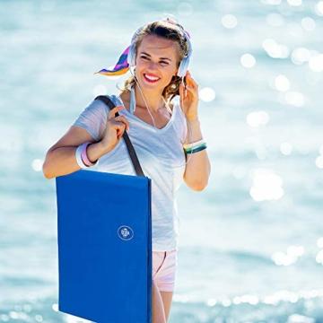 Deuba Strandmatte Gepolstert Kopfkissen Faltbar Verstellbare Rückenlehne Staufach Badematte Isomatte Strandtuch Blau - 3