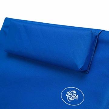 Deuba Strandmatte Gepolstert Kopfkissen Faltbar Verstellbare Rückenlehne Staufach Badematte Isomatte Strandtuch Blau - 4