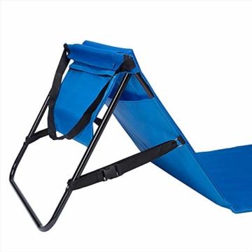 Deuba Strandmatte Gepolstert Kopfkissen Faltbar Verstellbare Rückenlehne Staufach Badematte Isomatte Strandtuch Blau - 5