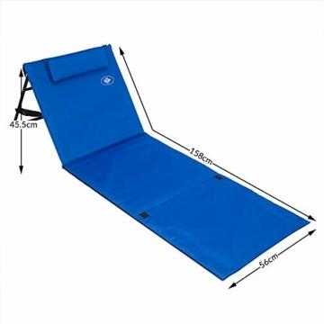Deuba Strandmatte Gepolstert Kopfkissen Faltbar Verstellbare Rückenlehne Staufach Badematte Isomatte Strandtuch Blau - 9