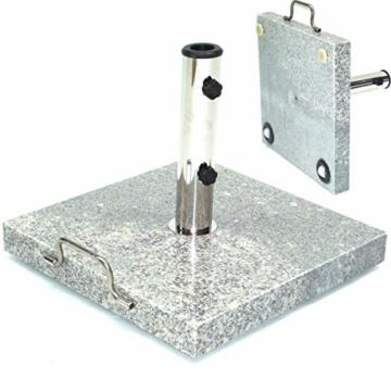 D&L Granit Sonnenschirmständer Schirmständer Schirm Ständer Granitständer m. Rollen [55880 Granit Sonnenschirmständer 30kg 45x45x5.5 Rollen] AWZ - 1