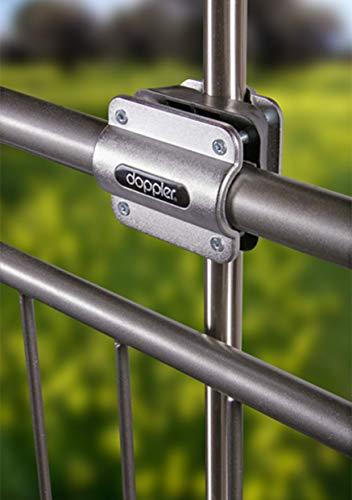 Doppler Balkonklammer Fix Vario – Praktische Balkonhalterung zur Montage eines Sonnenschirmes an runde Geländer – Platzsparend - 3