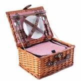 eGenuss LYP1598RED Handgefertigtes Picknickkorb für 2 Personen – Kühlfach, Multifunktionsmesser, Edelstahlbesteck, Teller und Weingläser inklusive - Rotes Gingham-Muster 32x25x17 cm - 1
