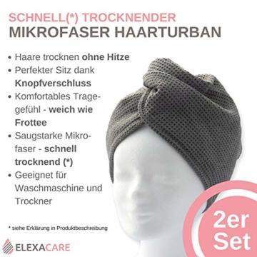 ELEXACARE Haarturban, Turban Handtuch mit Knopf (2 Stück anthrazit), Mikrofaser Handtuch für Kopf und Lange Haare - 2