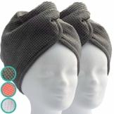 ELEXACARE Haarturban, Turban Handtuch mit Knopf (2 Stück anthrazit), Mikrofaser Handtuch für Kopf und Lange Haare - 1