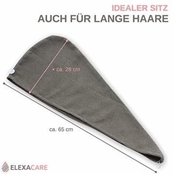 ELEXACARE Haarturban, Turban Handtuch mit Knopf (2 Stück anthrazit), Mikrofaser Handtuch für Kopf und Lange Haare - 3