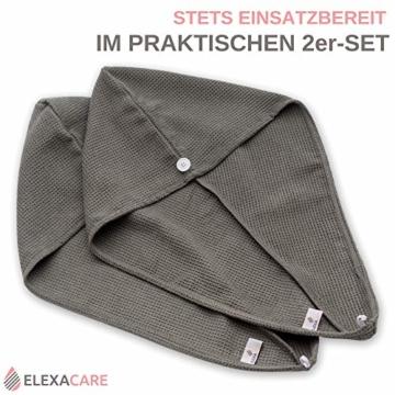 ELEXACARE Haarturban, Turban Handtuch mit Knopf (2 Stück anthrazit), Mikrofaser Handtuch für Kopf und Lange Haare - 4