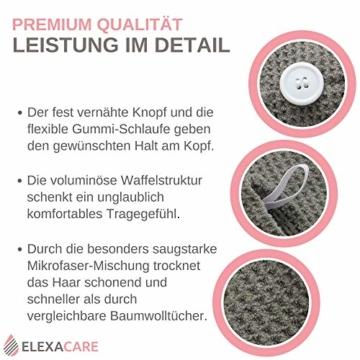 ELEXACARE Haarturban, Turban Handtuch mit Knopf (2 Stück anthrazit), Mikrofaser Handtuch für Kopf und Lange Haare - 5