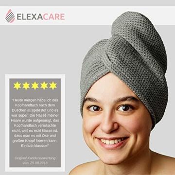 ELEXACARE Haarturban, Turban Handtuch mit Knopf (2 Stück anthrazit), Mikrofaser Handtuch für Kopf und Lange Haare - 7