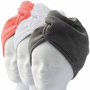 ELEXACARE Haarturban, Turban Handtuch mit Knopf (2 Stück anthrazit), Mikrofaser Handtuch für Kopf und Lange Haare - 9