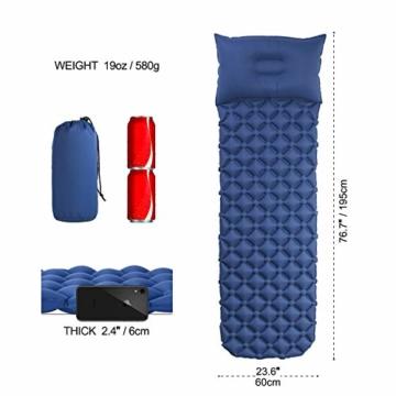 Everwell Aufblasbare Isomatte Ultraleicht, Isomatte Camping Kleines Packmaß Kompakte Faltbar Wasserdicht Schlafmatte mit Kopfkissen, Geeignet für Outdoor Zelt Reise Strand Trekking Backpacking - 2